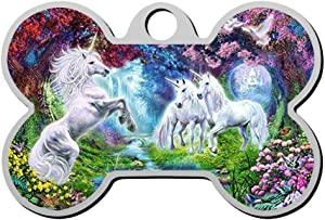 GPZHM My Unicorn Pet Tag - Bone Shaped Dog Tag & Cat Tags Pet ID Tag Personalized Custom Your Pet's Name & Number 3D Printing