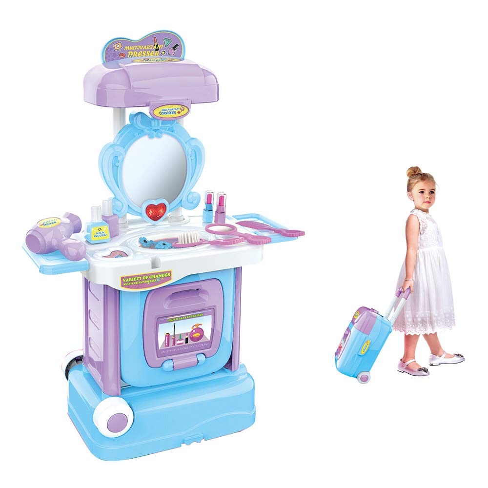 Wotryit 2 in 1 Vanity Pretend Play Dressing Table&Music Suitcase Beauty Make Up Set,Includes Various Accessories Such as Comb, Small Mirror, Hair Dryer, Fake Bottles, and so on.