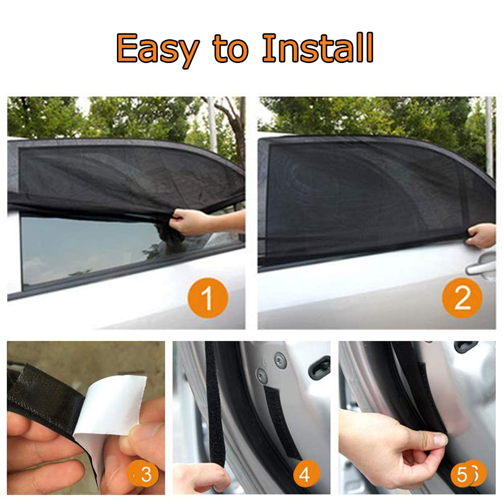 UV Privacy Protection SUV Car Mosquito Net for Kids Fit Most of Vehicle Universal Sun Shade for Car Front Window Passengers 2 Pack Car Window Shade Mesh Net for Car Side Window for Baby