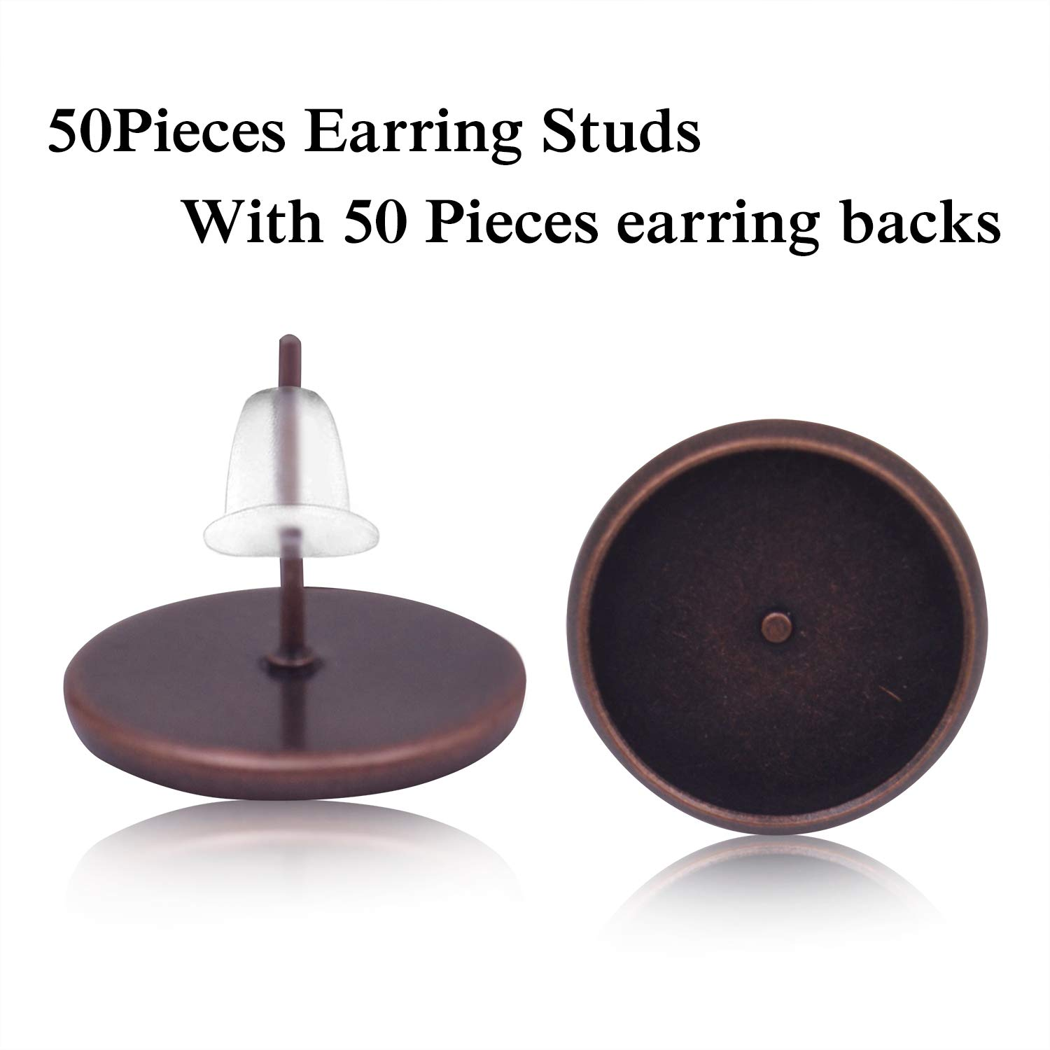 BronaGrand 50 Pieces Stainless Steel Stud Silver Earring Cabochon Setting Post Cup for 8mm and 50 Pieces Clear Rubber Earring Safety Backs