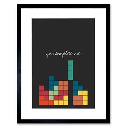 Wee Blue Coo Prints Love Quote You Complete Me Video Game Nerd Tetris  12x16\'\' Framed Print F12x12121