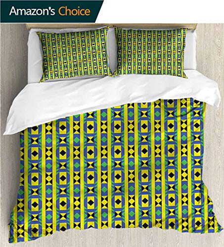 - carmaxs-home Kids Quilt 3 Piece Bedding Set,Box Stitched,Soft,Breathable,Hypoallergenic,Fade Resistant with Sham and Decorative 2 Pillows,Full Queen-Kente Pattern Geometric Kenya (87