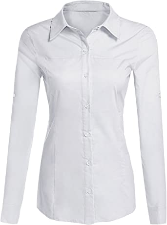 Bluetime Blusa de manga larga para mujer, estilo Oxford ...