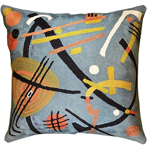 Kashmir Designs Kandinsky Teal Decorative Pillow Cover Hand Embroidered 18
