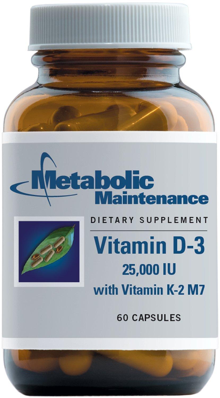 Metabolic Maintenance - Vitamin D-3 - 25,000 IU + K2, High Potency + Easier Absorption, 60 Capsules
