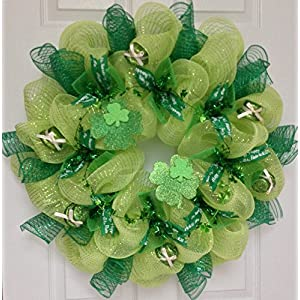 St Patricks Day Leprechaun Hat Deco Mesh Welcome Wreath 12