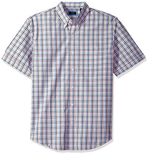 Arrow 1851 Men's Hamilton Poplin Short Sleeve Button Down Shirt, Riviera, (Wrinkle Free Mens Shorts)
