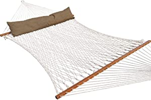 TOUCAN OUTDOOR Cotton Rope Hammock, Double Hammock with Pillow, Capacity 450 lbs, for Outdoor Patio, Yard, and Porch