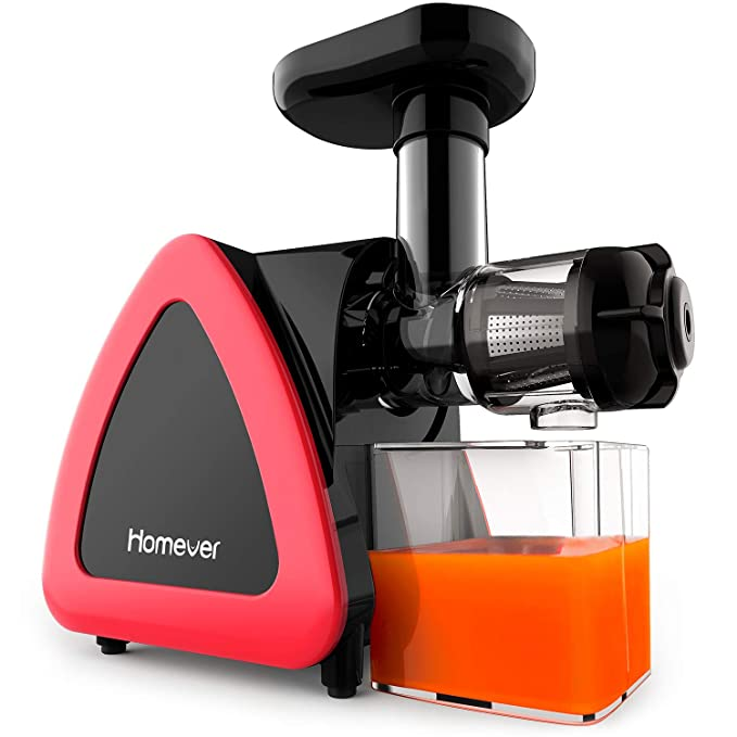 Homever Slow Masticating Juicer for Fruits & Vegetables, Quiet Motor & Reverse Function Easy to Clean Extractor Nutrition Master Cold Press Machine with Brush, BPA-Free, Red