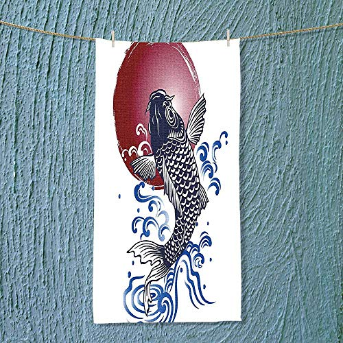 SOCOMIMI Shower Towel Decor Ornate Japanese Brocaded Carp Fin with Red Circular Form Eastern Fresh Graphic Easy Care Machine wash