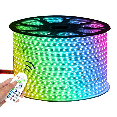 Efyly LED Strip 110V SMD 5050 Waterproof Rope Tape Light With US Plug and Controller(RGB, 5) -