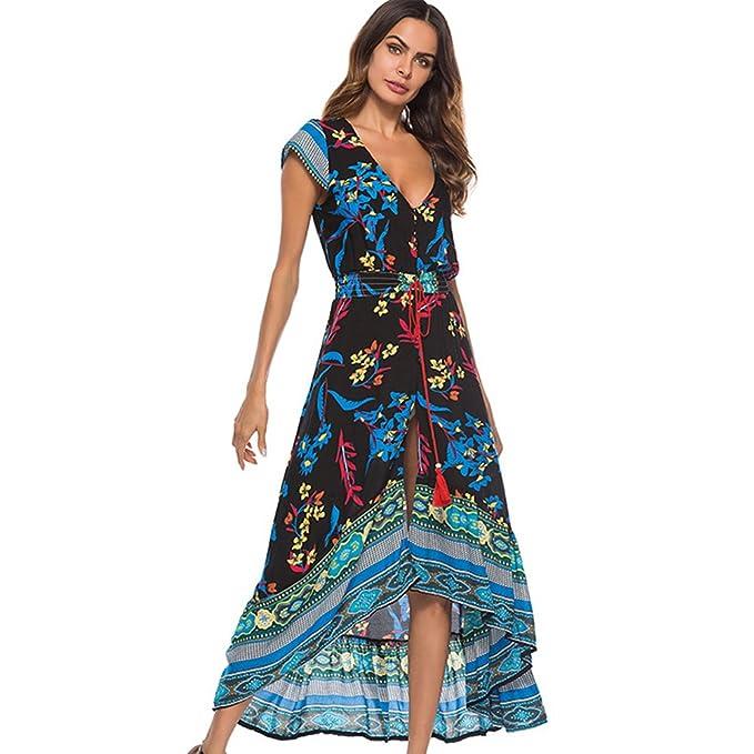 ONEFENG Mujer Vestidos Largos De Verano Vestidos Largos Tallas Grandes, Boho Flamenca Vestidos Boho Ropa