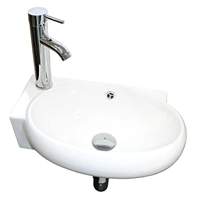 . Sliverylake Bathroom Corner Sink Wall Mount Vessel Sink Porcelain