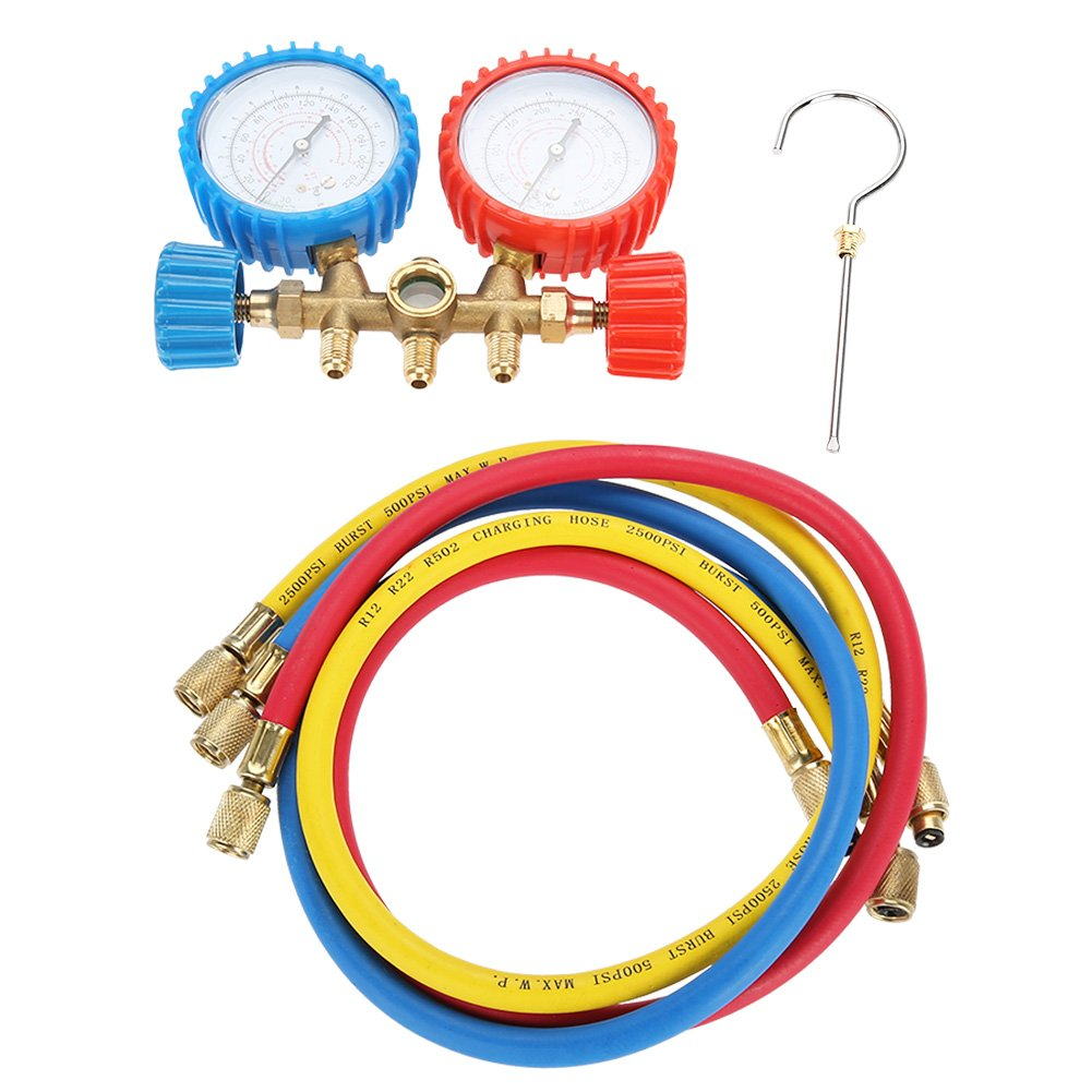 Acouto Refrigerant Air Conditioning Tools AC Diagnostic Manifold Gauge Set W/Hose and Hook Kit