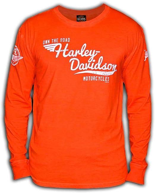 Indigo Harley-Davidson Men/'s Speedshift Long Sleeve Crew Neck Cotton Shirt