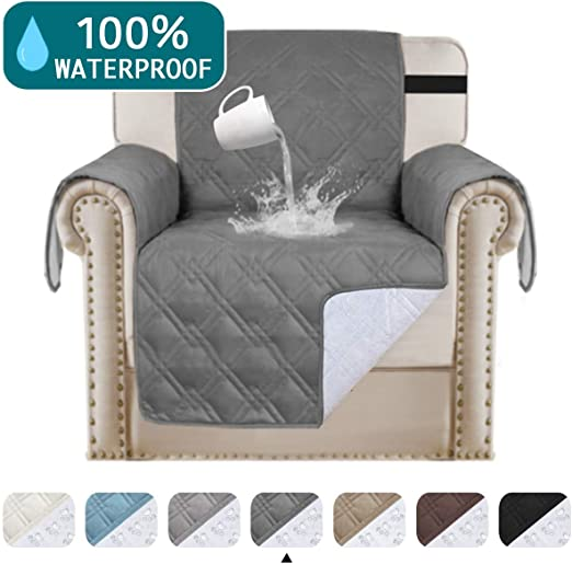 Turquoize 100% Waterproof Chair Covers for Living Room Sofa Cover for Pets Leather Couch Cover Chair Protector Non Slip Furniture Protector Quilted