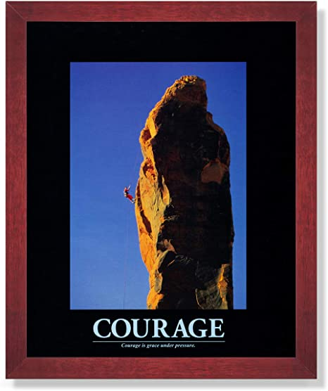 Courage Grace Under Pressure Motivational Mountain Climbing Wall Cherry Framed Art Print Posters Prints