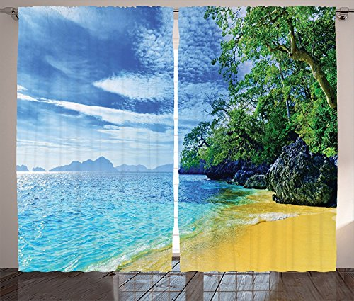 Tropical Decor Collection Beach Sea and Sky Caribbean Rocky Sandy Shore Tourist Attraction Scene Print Living Room Bedroom Curtain 2 Panels Set Blue Green Ivory Aqua Review
