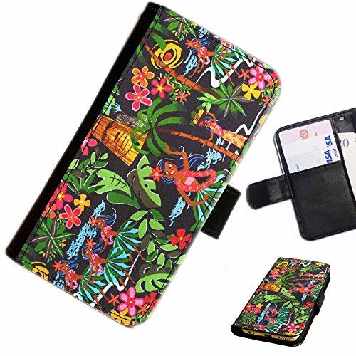 Hairyworm- Exotisch Apple iPhone 7 Leder Klapphülle Etui Handy Tasche, Deckel mit Kartenfächern, Geldscheinfach und Magnetverschluss.