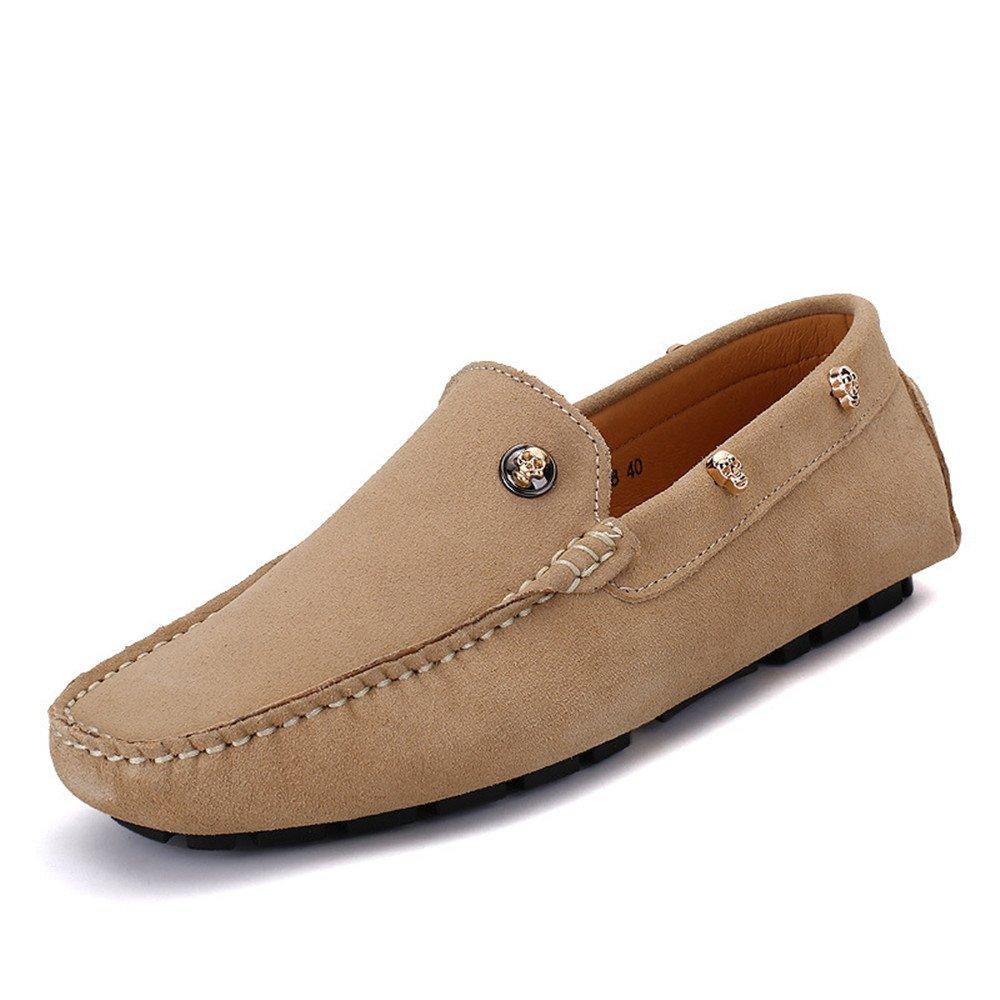 Xiaojuan-schuhe, Herren Echtes Leder Weiche Penny Loafers Driving Mokassins Weiche Leder Sohle Schädel Dekor, (Farbe : Marine, Größe : 44 EU) Khaki 711267
