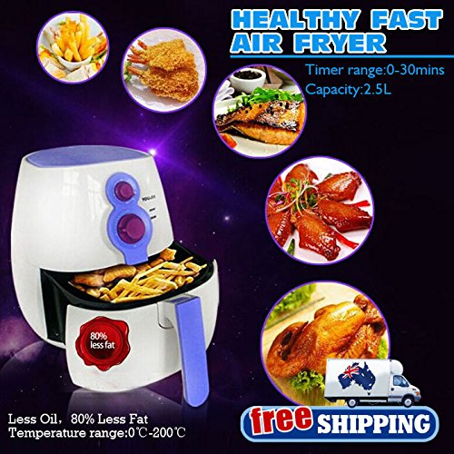 Australia Domestic Delivery 2.5L Less Oil Healthy Fast Easy Cooker 80% Less Fat White Electric Air Fryer - Australia Delivery