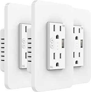 MoKo Smart WiFi In-wall Socket with 2 Outlets 1 USB Charging Port 15A Electrical Smart In Wall Timer Plug Work with Alexa Echo/Google Home/SmartThings Remote control Timing function,Only 2.4GHz,3 Pack