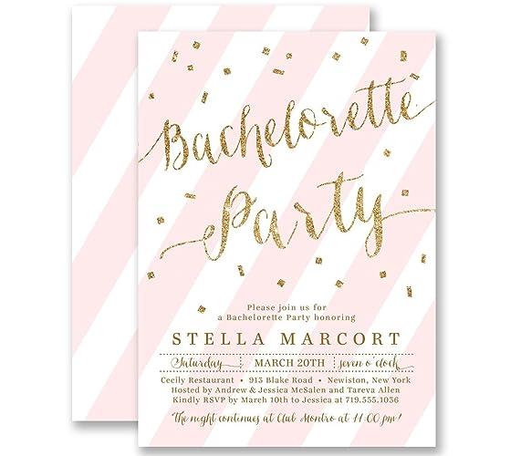 amazon com bachelorette party invitations blush pink striped gold