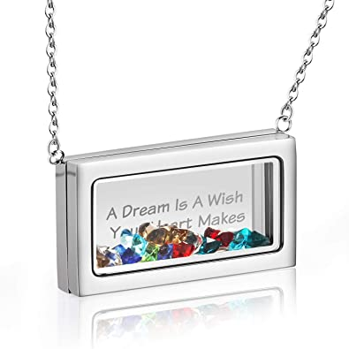 Desberry DIY Floating Charms Living Memory Locket Personalized Pendant Necklace with Crystal Inspirational Gifts for Women Girls Mother Daughter Sister Friend Girlfriend