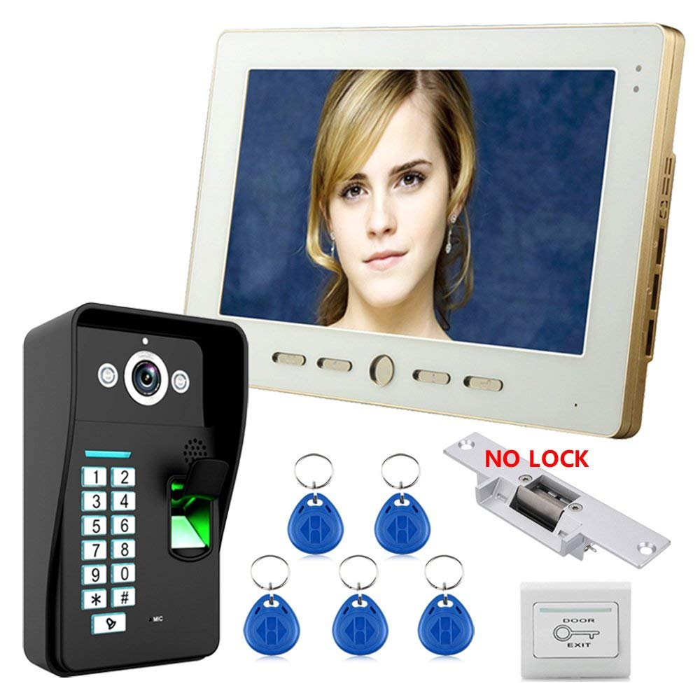10'' LCD Fingerprint Recognition RFID Password Video Door Phone Intercom System kit with NO-Electric Strike Door Lock. LED: 2 Infrared LED Lights