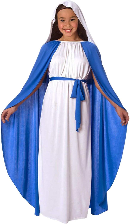Childrens Kids Girls Fancy Dress Christmas Xmas Nativity Costume Virgin Mary