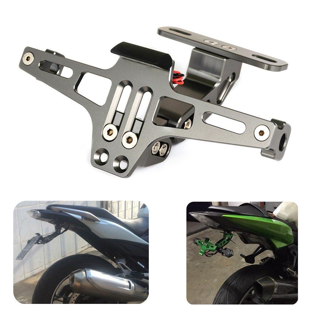 Nawenson Nueva Styling motocicleta universal de aluminio ajustable del titular del n/úmero de matr/ícula del soporte con la placa de LED Verde