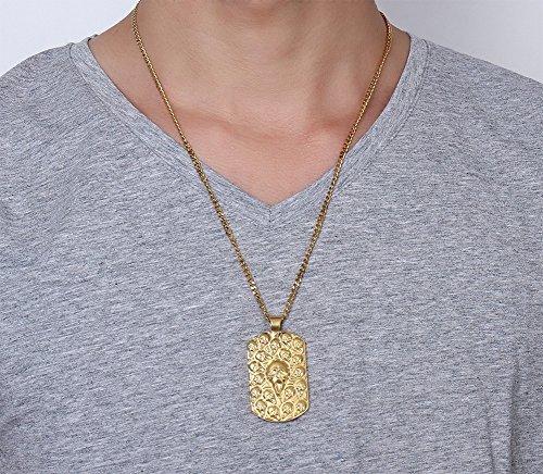 vnox hommes de crâne gothique Biker Bijoux en acier inoxydable–Collier Femme–Pendentif avec chaîne cubaine, or 60cm