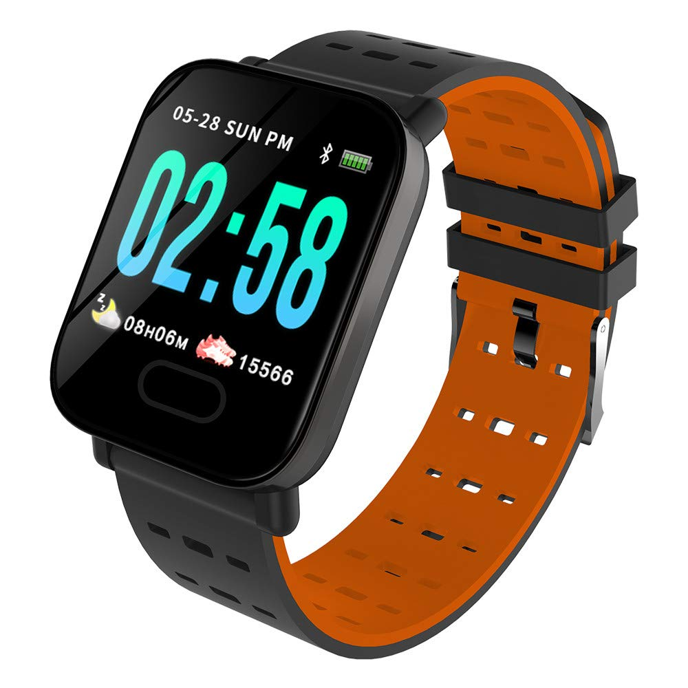 Cywulin Smart Watch Fitness Tracker, IP67 Waterproof Sport Wristband Color Screen Activity Tracking Music Camera Control Heart Rate Sleep Monitor Pedometer Calories for iOS Android Men Women (Orange)