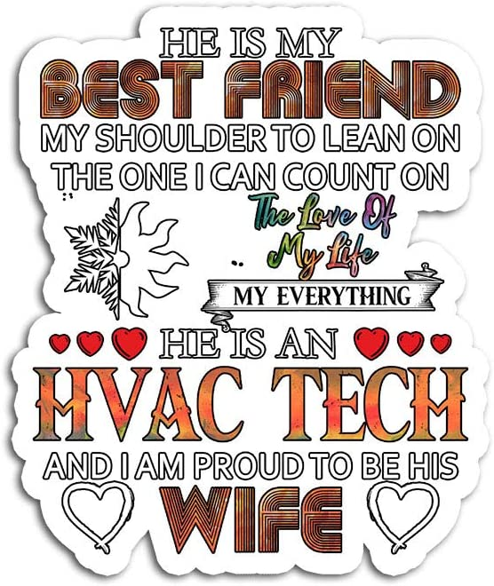 Hand Wooden Customizable Sticker Proud Wife of an HVAC Tech Women Funny Stickers for Personalize (3 pcs/Pack)