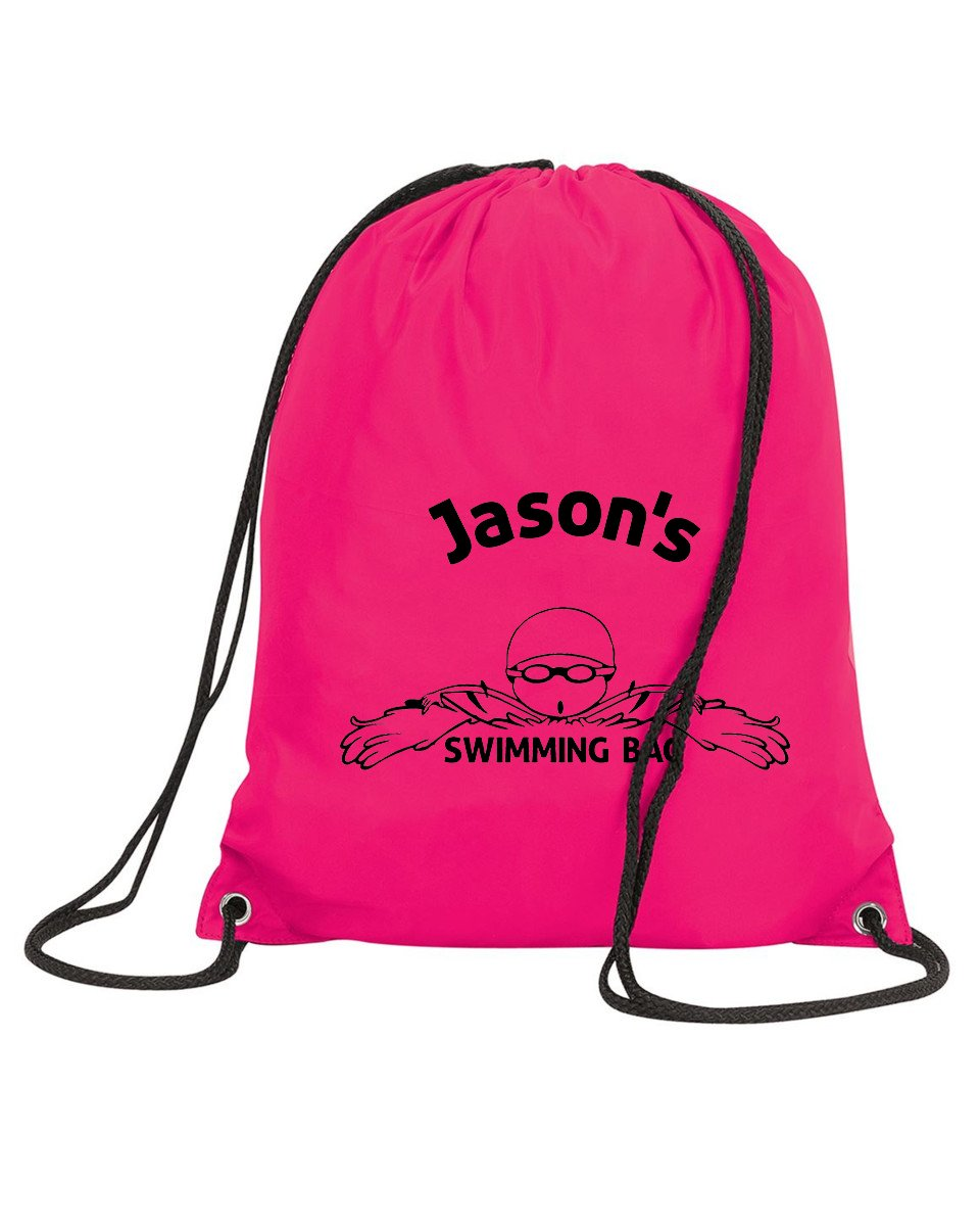 Personalised Swimming Bag Drawstring PE Kit Gym School Sports Kids Team Shugon