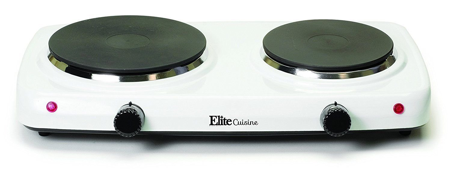 lunanice White color Electric Stove Top High Powered 2 Burners Cooktop Range Oven Hot Plate 7'