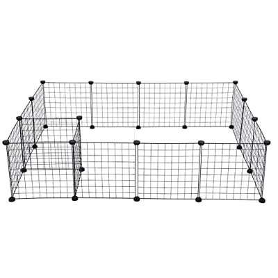 Foldable Metal Pet Exercise Dog Playpen Fence Decorative Garden Fence Metal Dog Kennel Exercise Play Yard Cage 16 Panels - Shipped from US (Black): Office Products