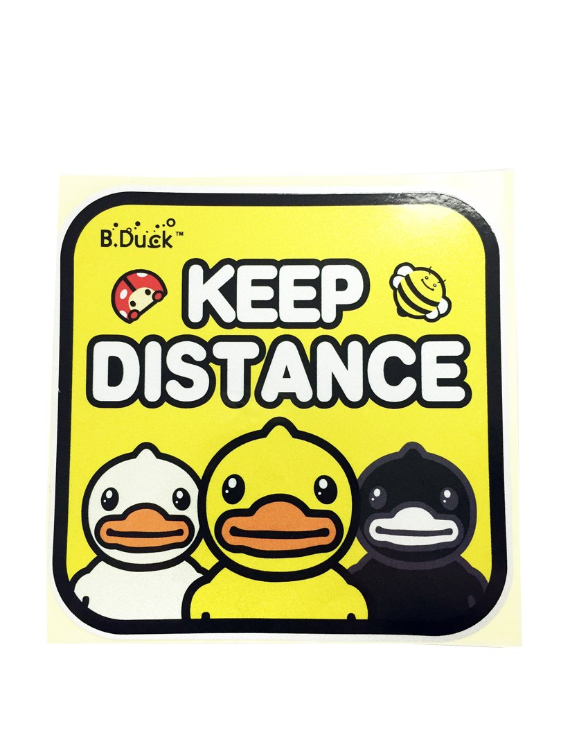 Dian Bin-007 Keep Distance Yellow 3 Ducks KK Car Sticker Vehicle-logo Badge Emblem