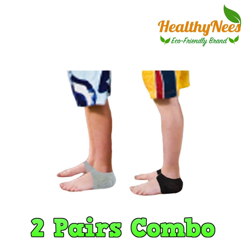 HealthyNees Kid's 2 Pairs Combo Set Foot Heel Arch Pain Pressure Neoprene Gel Silicone Cushioning Sleeve (Kids) by HealthyNees (Image #1)