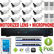 USG 16 Camera 2MP 1080P IP PoE CCTV Kit With Motorized Lens & Microphones Built-In: 12x 1080P 2MP IP PoE 2.8-12mm Auto-Zoom & Auto-Focus Bullet Cameras + 4x 1080P 2MP IP PoE 3.7mm Indoor Hidden Cameras With Microphone + 1x 24 Channel 1080P NVR + 2x 9 Port PoE Switches + 1x 3TB HDD High Definition Video Surveillance For Your Home or Business Simple Plug & Play P2P Cloud Setup For Apple & Android Smartphones