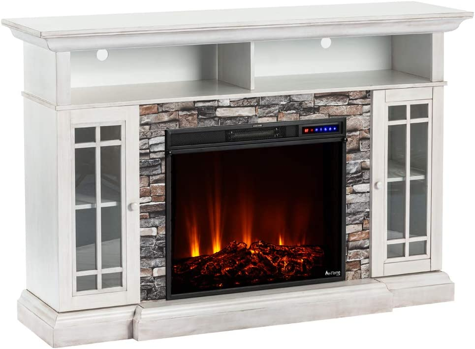e-Flame USA Whistler Large Electric Fireplace Stove TV Stand - 66