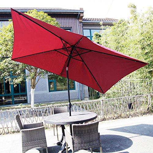 Cheap  Kinbor Rectangular Outdoor Table Aluminum Solar Powered LED Lighted Patio Umbrella Window..