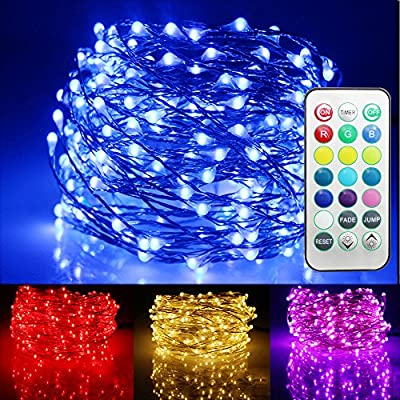Ustellar 33ft RGB 100 LED Starry String Lights, Waterproof Outdoor Color Changing Copper Wire Fairy Lights with Remote Control/ Timer, 8 Brightness Levels, Battery Operated (Not Included)