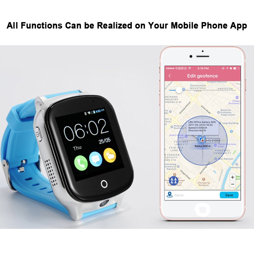 3G WiFi Phone Call GPS Smart Watch, Tycho Real-time Tracking SOS GPS Tracker Watch, Geo-Fence Elderly GPS Watch Touch Screen Camera Step Counter Kids ...
