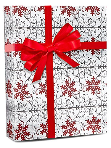 30'' X 15' Scrolling Flakes Gift Wrap Christmas by Paper Mart