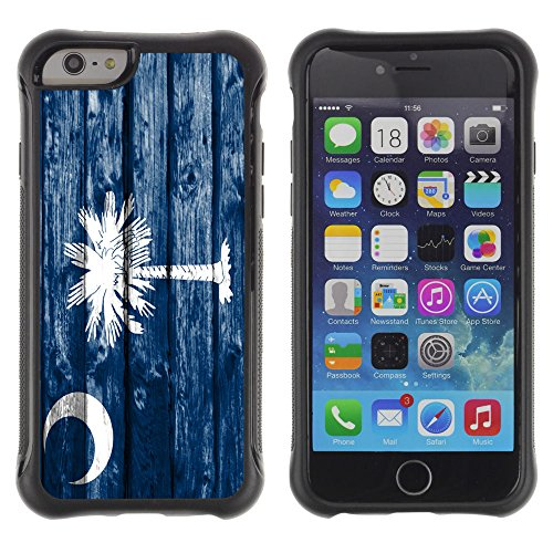 FJCases South Carolina The Palmetto State Wood Pattern Flag Shockproof Anti-Slip Soft Rubber Case Cover for Apple iPhone 6 Plus/iPhone 6S Plus
