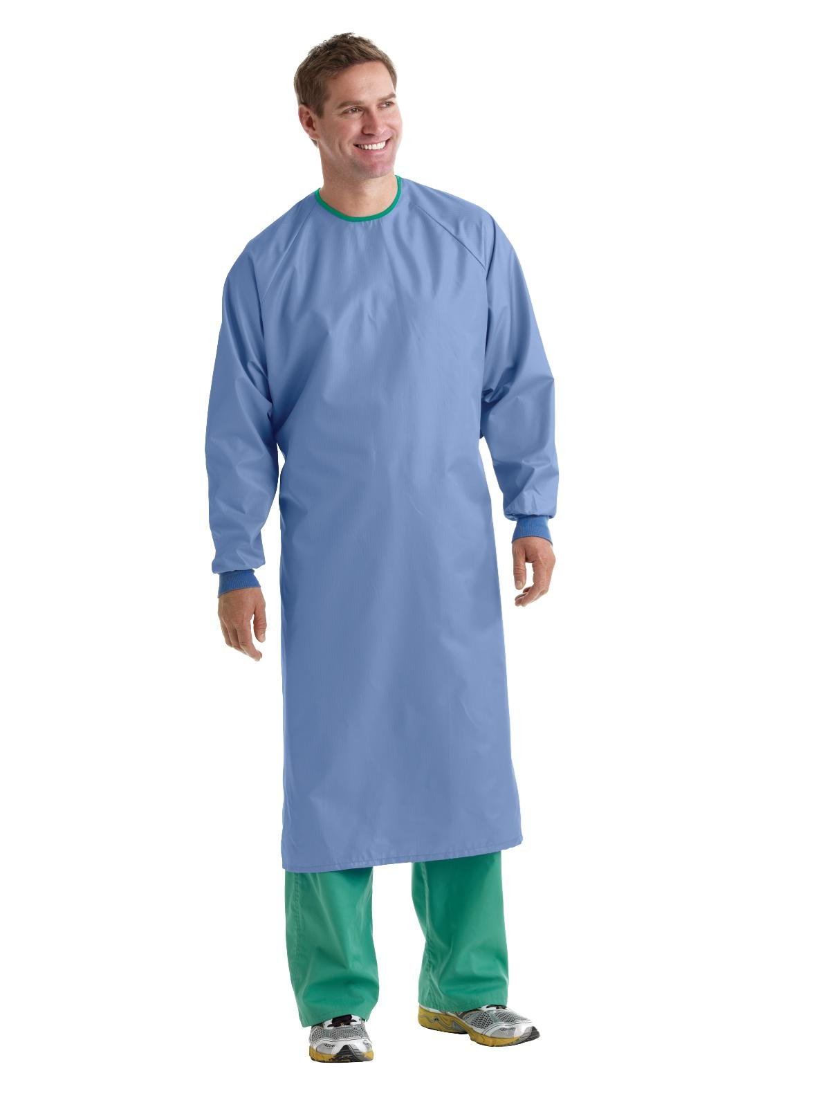 Medline MDT012090L 1-Ply Blockade AngelStat Surgical Gown, Tie Neck and Back Closure, Non Sterile, Large, Ceil Blue (Pack of 12) by Medline