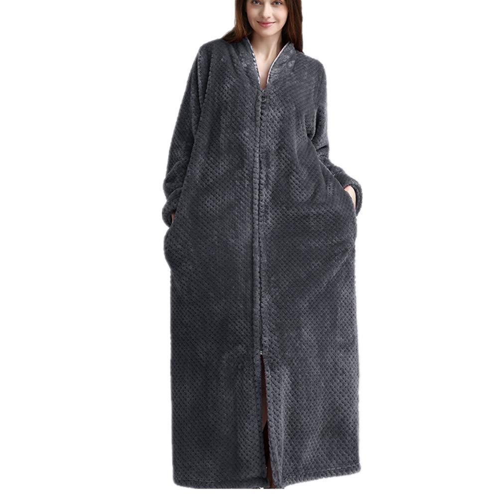 cintur/ón DUJUN Albornoz Largo extendido para Mujer Absorbente y c/ómodo Microfibra M a XL 100/% poli/éster - 2 Bolsillos Albornoz Suave camis/ón con Cremallera