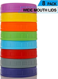 WIDE Mouth Mason Jar Lids [8 Pack] for Ball, Kerr and More - Food Grade Colored Plastic Storage Caps for Mason/Canning Jars - Leak-Proof & Anti-Scratch Resistant Surface