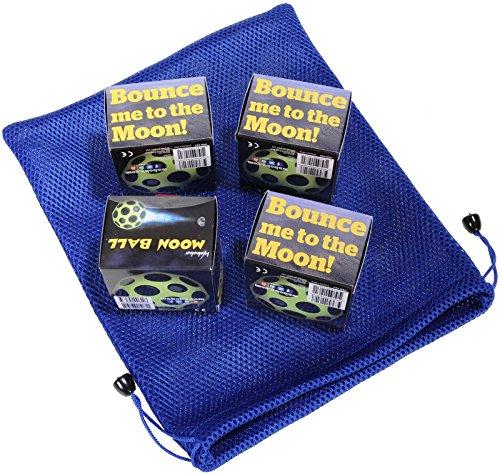 Waboba MOON Extreme Bounce Bundle of 4 Balls _ in 4 Neon Colors _ BONUS Soft Nylon Net Drawstring 9 x 12'' Royal Blue Carry Bag by Waboba (Image #4)